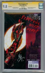 Dark Avengers #14 Deadpool Variant CGC 9.8 Signature Series Signed Mike Deodato Jr Marvel comic book